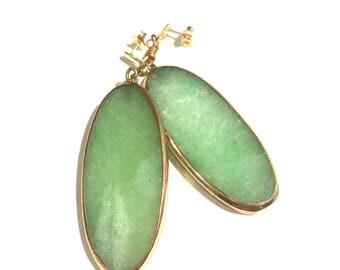 Gold & Green Stone Oval Dangle Earrings