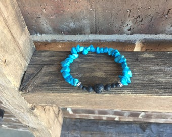 Blue Turquoise Gemstone and Lava Essential Oil Diffuser Bracelet