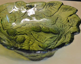 Vintage Indiana Glass Loganberry Green Glass Dish Bowl, Avocado Olive Green, Leaves Berries Candy Dish