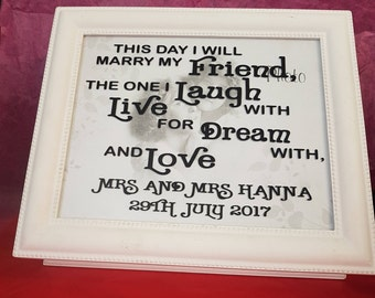 Personalised Wedding keepsake box and glass set