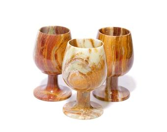 Set of three marble wine glasses