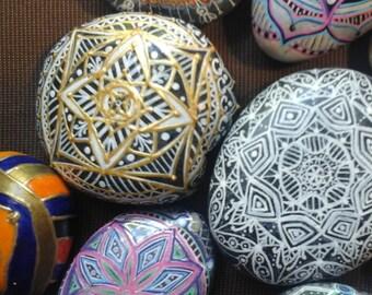 mandala hand painted stone