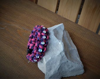Fashion Bejeweled Pink and Purple Paracord Bracelet