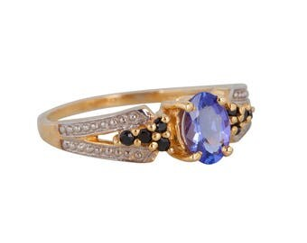 Tanzanite & Black Spinel Gemstone Ring-Silver