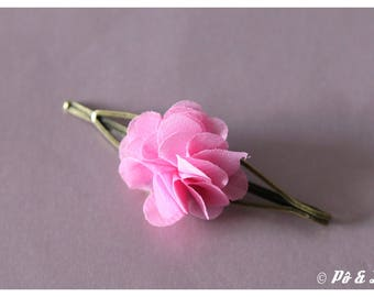 Flower hair clip light pink and brass #0928