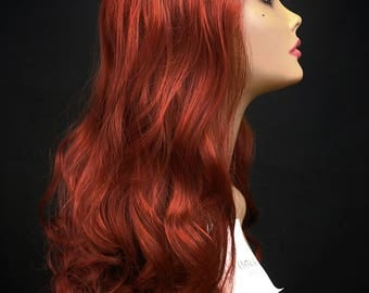 """FELICITY : 26"""" High Quality Lace Front Wig - Heat Safe Synthetic Hair with soft loose spiral curls in Brick Red Maroon"""