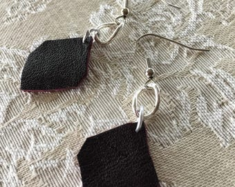 Leather shapes and chain link earrings
