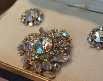 Signed Sherman Brooch and Earrings Set, Sherman Jewelry, Costume Brooch, Aurora Borealis Sherman, Signed Costume Brooch, Rainbow Crystal