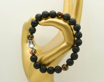 LAVA STONE BRACELET, beaded bracelet, lava bracelet, aromatherapy bracelet, essential oil diffuser, lava rock bracelet, owl lava bracelet