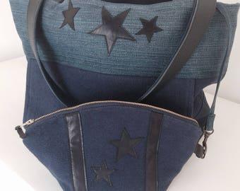 Jeans leather make-up bag
