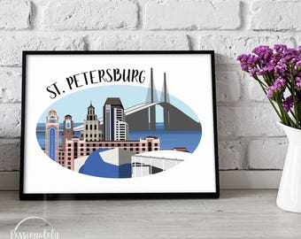 St. Petersburg Skyline - Florida Illustration - Wall Art - Digital Download