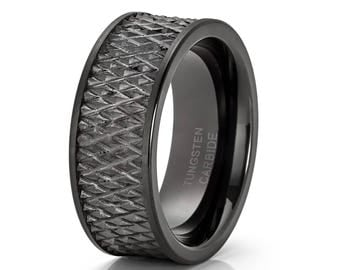 Black Tungsten Wedding Band Rugged Design Ring Tungsten Carbide Ring Biker Wedding Band Men & Women Comfort Fit