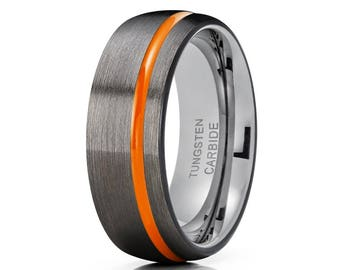 Gunmetal Tungsten Wedding Band Orange Tungsten Ring Men & Women Black Tungsten Band Anniversary Ring Comfort Fit