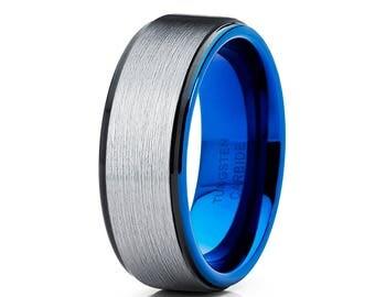 Blue Tungsten Wedding Band Silver Brush Tungsten Ring Men & Women Tungsten Carbide Ring Anniversary Ring Black Tungsten