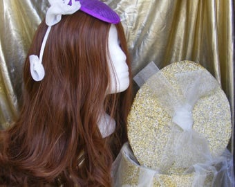 Purple teardrop hat/fascinator
