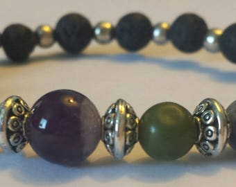 Gorgeous gemstone bracelet~ Amethyst, Tiger's Eye, Lapis Lazuli, Lava Stone, and more!