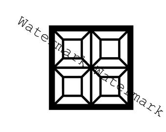 Lattice Quilt Square Block Stencil SVG & Studio 3 Cut File for Cricut Silhouette Brother Quilting Cutouts Files Stained Glass Patterns SVGs