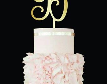 Wedding Cake Topper B wooden cake topper wedding Letter B Initials Golden Cake Topper wood Single Letter B initial cake toppers for wedding