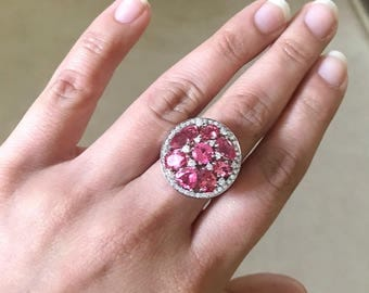 Spinel Ring - 14k White Gold w/ Diamond accent stones
