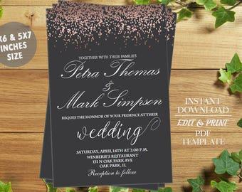 INSTANT DOWNLOAD-Rose Gold Wedding Invitation Printable Elegant Wedding Invitation Suite Modern Wedding Invite Simple Pink Grey Wedding