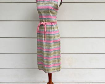 Vintage 60s Handmade Belted Dress with Multicolored Stripes