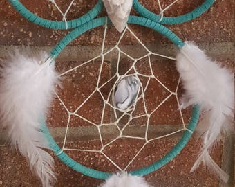 Teal and white owl dream catcher with feathers/beading/suede/wall hanging