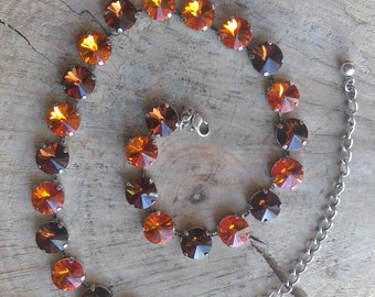 Tangerine & Smoked Topaz Rhinestone Necklace