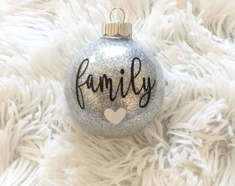 Personalized Family Name Christmas Glitter Ornaments, Shatterproof, Tree, Holiday Decor, Christmas, Glitter, Ornament, Personalized