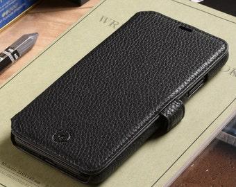 Apple iPhone X / iPhone 10 Genuine Leather Phone Wallet Case in Black Pebble Grain Genuine Leather