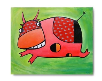 painting on canvas: Geraldache - pink cow