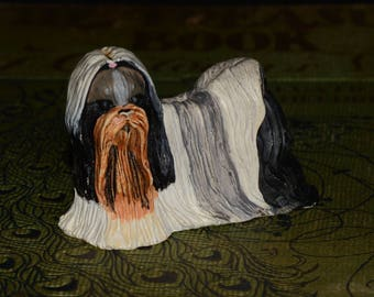 Sandicast Shih Tzu small size sculpture, DOG Figurine, Statue, Hand Painted, Resin, Replica Realistic, Dog, figurine, Collectible