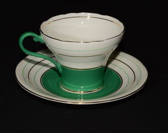 AYNSLEY, 1930s, Cup and Saucer set, Corset, Art Deco, Green Gold Stripes, Corset Cup and Saucer, Bone China, England, vintage, collectible