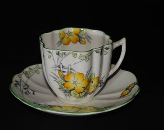MELBA, Yellow, Bone China, Teacup, and saucer, Yellow flowers, Green Rimmed, England, Vintage, Fine Grade, lovely shape