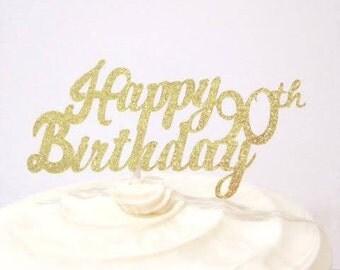 90th Birthday / Milestone Birthday / Custom Cake Topper in Sparkling Glitter!