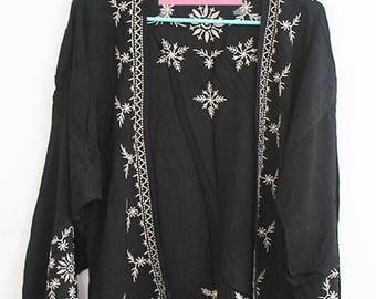 Black Kimono with Embroidery