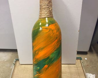 Painted wine bottle // Home decoration // centerpiece // Rustic Home Decor // tiki bar decor // twine wrapped bottle
