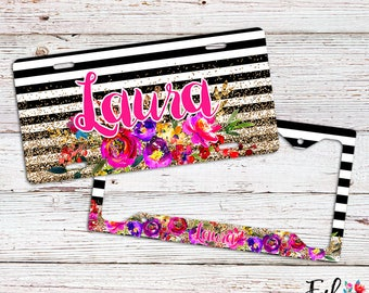 Personalized Floral License Plate/Frame