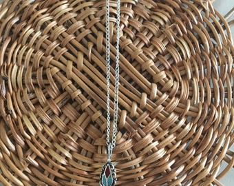 Dainty Sterling Silver & Crushed Turquoise Necklace