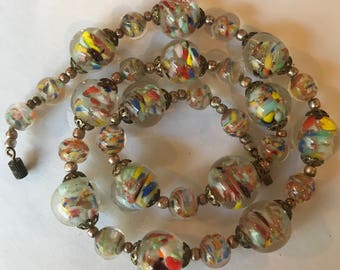 Vintage  Sommerso Murano Aventurine multi-colored glass bead necklace