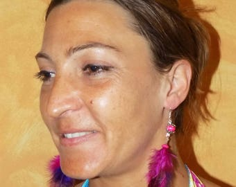 Feathers 'Pinky fresh' earrings