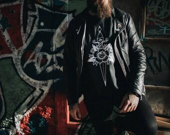 Unisex Black Crewneck ,Traditional Dagger and Rose Tattoo design