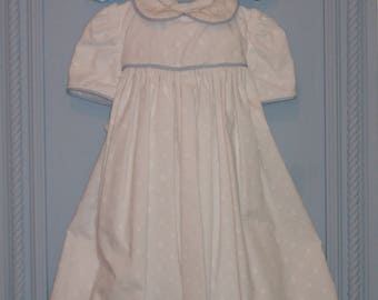 Cotton Baby Girl Dress. 4 to 6 Months. White On White Embroidere Dots, 100% Cotton