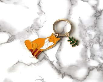 Cute Fox Enamel Keychain, Gold Plated, Boho Animal Keychain, Cool Birthday Gifts Under 15 For Her, Back To School, Nature Vibes Keychain