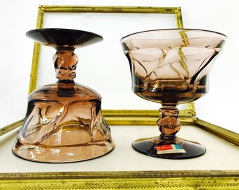 Vintage Set of 4 Champagne Goblets Fostoria Jamestown Brown Pattern