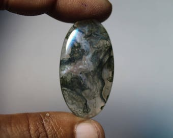 Natural Moss agate loose gemstone, Moss agate gemstone, Natural Moss agate cabochon gemstone, Moss agate loose stone [38x21]35 Cts. #521