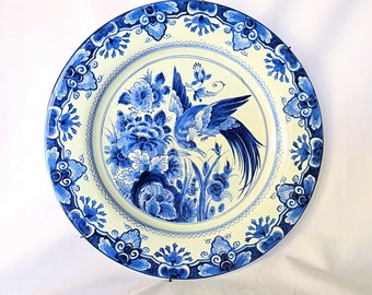 Vintage Delft Blue Porcelain Plate from The Porceleyne Fles, with Beautiful Decor of Flowers and a Peacock from 1954
