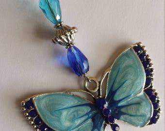 """1 pendant Silver """"butterfly blue enamel"""" - 3.3x8.5cm"""