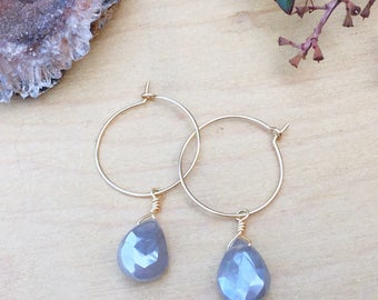 Moonstone Hoop Earrings, Fall Wedding, Great Bridesmaid Gift or Perfect for Boho Bridal Jewelry, Boutique Style Jewelry