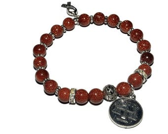 Zodiac Mala Bracelet - Gold Stone - Stretch  Bracelet