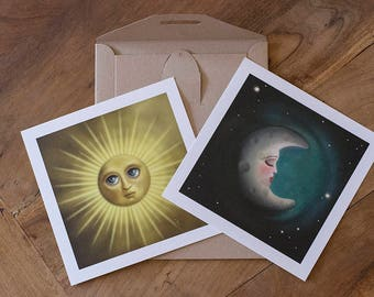 Digital Illustration Double Fine Art Print lowbrow pop surrealism The Sun and The Moon DUAL DANCE